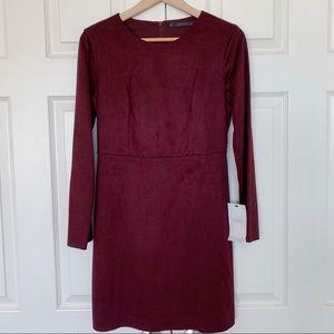 Zara Faux Suede Burgundy Dress